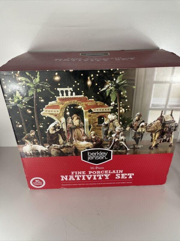 RARE 16PC Large Christmas Creche Nativity Set Porcelain Fabric Handcrafted w/Box