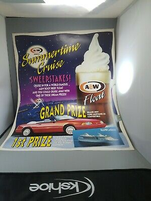 "A &W Root beer collectibles advertising poster new old stock 28""×22"" year 1993"