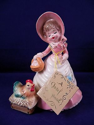 Josef Originals Figurine COLONIAL DAYS Series Girl Chicken Basket w/ Hang Tag