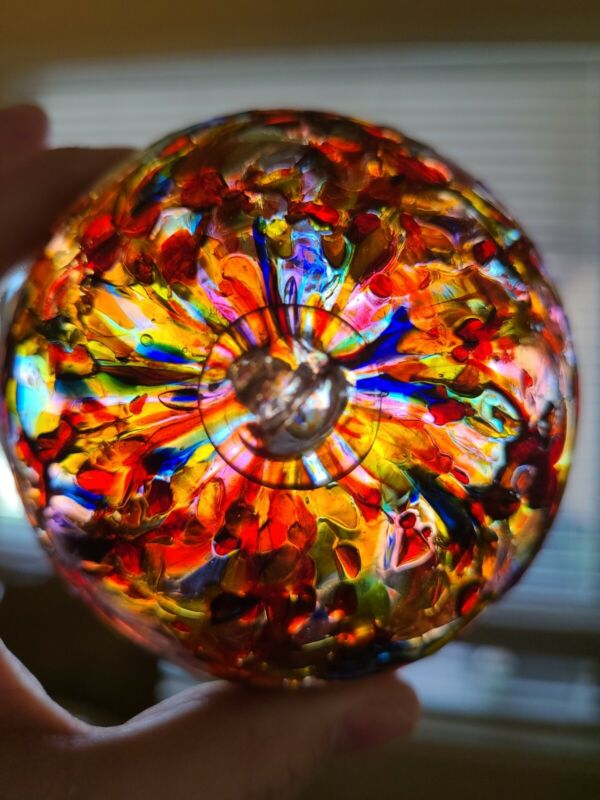 "4"" Hanging WITCH BALL Hand Blown Art Glass  Scrying Orb Red Blue Yellow Orange G"