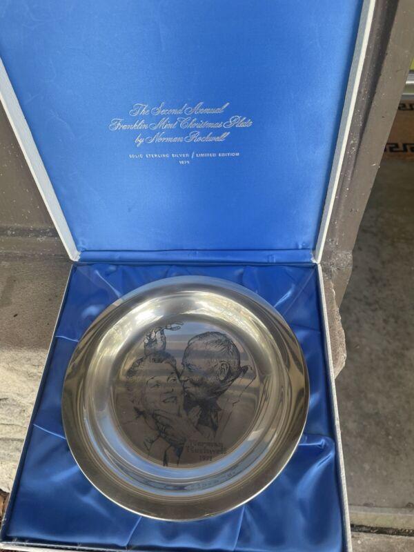 """Norman Rockwell 1971 Sterling Silver Plate Franklin Mint """"Under the Mistletoe"""""""