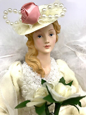 """17"""" Beautiful Shabby Pink Rose Chic Victorian Lady Angel Tree Topper Christmas"""