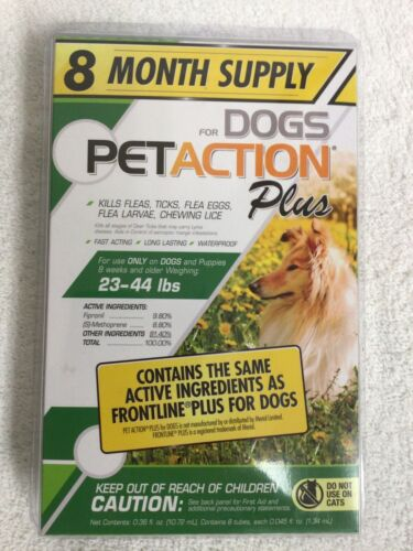 PetAction Plus For Dogs 8 Doses Treatments Medium 23-44 lbs SEALED PET ACTION