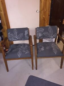 Pair of Midcentury Modern Chairs Solid Wood
