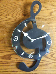 Treble G Clef Wall Clock Music Musical Note Hanging Decor