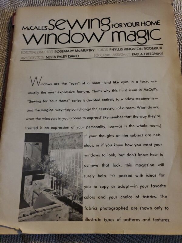 """Vintage """"Home Sewing Window Magic"""" by Sally McCalls Step-by-step Magazine 1970s"""