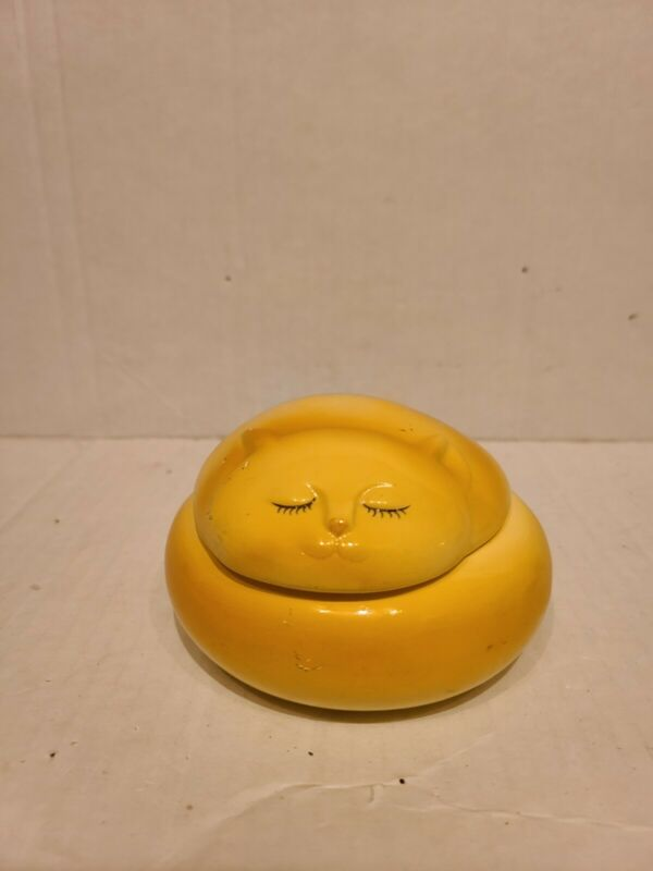"Yellow Porcelain Cat Trinket Box Handpainted Furever Friends 2.5"" x 4"""