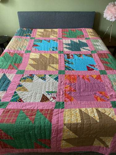 Vintage Maple Leaf Quilt Handmade 79 x 95
