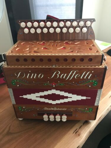 """New"" Dino Baffetti Organetto Cherry Wood Tonality La/Re 8 Base Case Included"