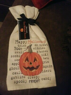 TWO NEW With Tags Halloween Flour Sack Kitchen Towels Pumpkin