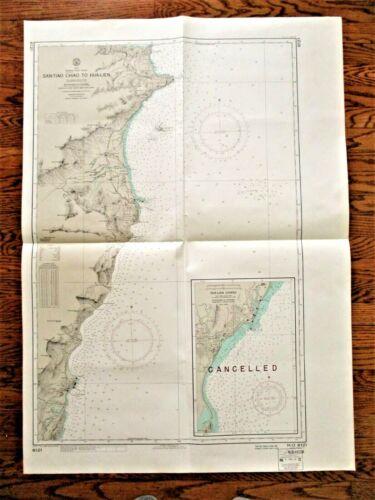 """1972 Soundings Map SAN-TIAO CHIAO TO HUA-LIEN Taiwan East Coast 30x42"""""""