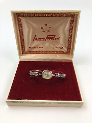 Lourin Perrard 21 Jewels Watch With Red Hinged Plastic Display Box
