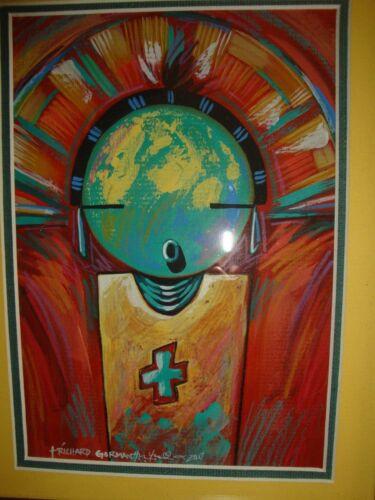Hopi Artist, Richard Gorman, framed original acrylic, signed FREE SHIPPING