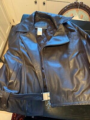 versace leather jacket men