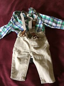 Oshkosh baby outfit/ suspenders