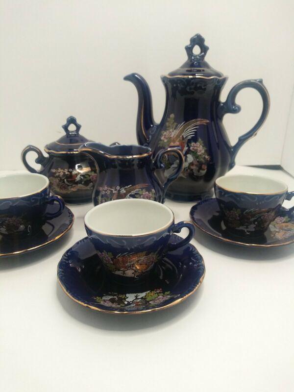 Vintage Japanese Sake Tea Set Cobalt Blue Gilded Birds & Flowers
