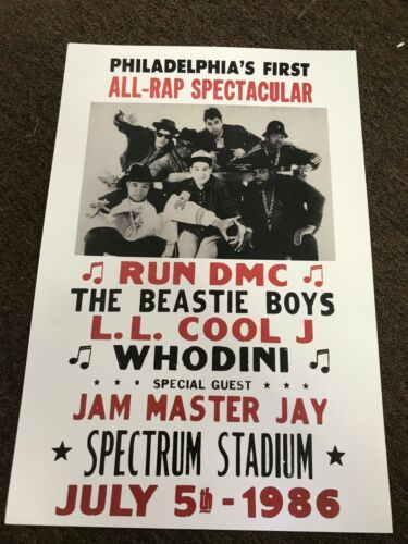 Beastie Boys Run DMC L.L. Cool J Whodini 1986 Cardstock Concert Poster 12x18
