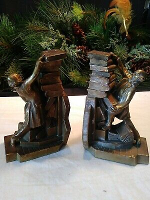 K & O Co Struggling Librarian Stacking Books Metal Bronze Brass Painted Bookends