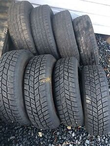 4 winter tires, 4 summer tires and 6 steel rims.