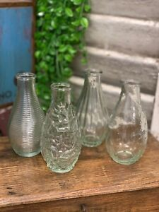 Set of 4 Small Clear Glass Bottles Vintage Style Ribbed Bud Vase Wedding Table