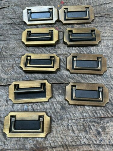 Vtg 9 Rectangle Hardware Drawer Pulls Door Handles Metal Oriental Asian Style