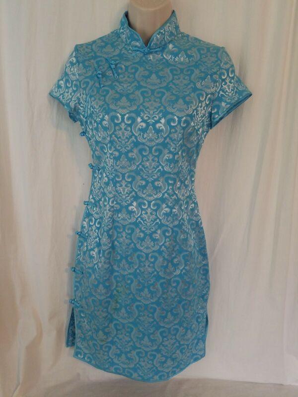 Oriental Qipao Cheongsam Blue And White Dress Womans Size M