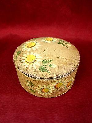 wunderschöne alte Deckeldose Holz Pappe 60er Jahre mit Sonnenblumen handgemalt