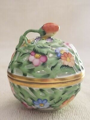 Herend Hungary Handpainted Porcelain Trinket Box Floral Nature potpourri Ball