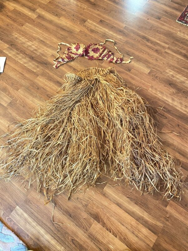 Vintage GRASS Hula SKIRT FROM HAWAII 1940s w/ Crepe Paper On OLD Bra Top Raffia