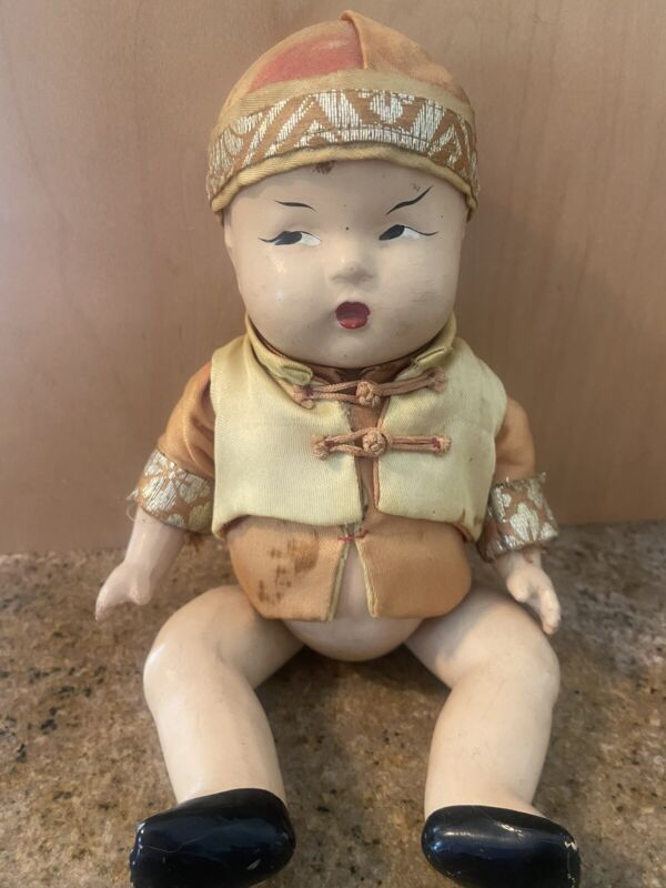 Antique / Vintage Chinese / Asian Baby Doll with Silk Clothing