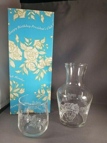 AVON President Club Birthday Gift Water Tumbler & Pitcher Carafe Glass 1998 NIB