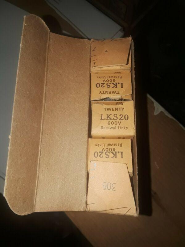 Box of 20 BUSSMANN LKS-20 20A 600V Fuse Link LKS20 RLS20, ERS20
