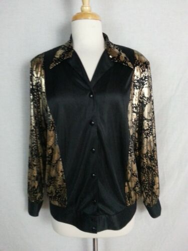 Vtg 80s Lori of CA Casuals Blouse Top Shirt Black Gold Floral Metallic Disco L