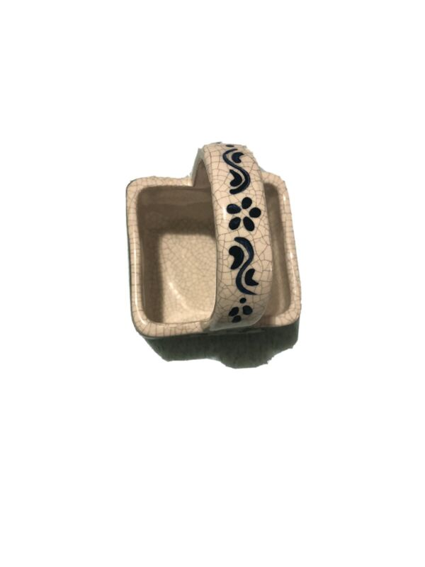"Dedham Rabbit crackleware basket 1997. Approx 5"" x 3"" x 3"". Excellent condit."