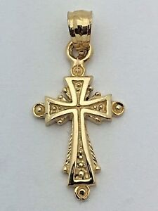 New Solid 14K Yellow Gold Small Filigree Cross Religious Charm Pendant 1.3 grams