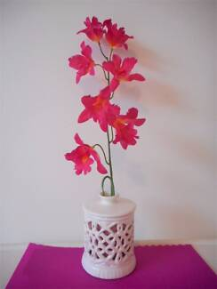 Quality artifical pink orchid in white ceramic pot $2 for both