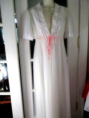 Vintage Dream Away White Double Chiffon Peignoir Set Nightgown Robe Nylon M