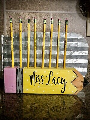 Teacher Gifts Personalized Teacher Pencil Holder Wooden Pencil Holder Desk