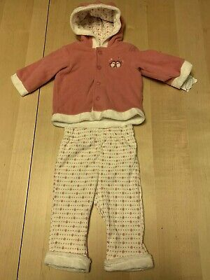 First Moments Fluffy 2 Piece Set, Coat And Pants, Floral Print, 3-6 Months, NWT!