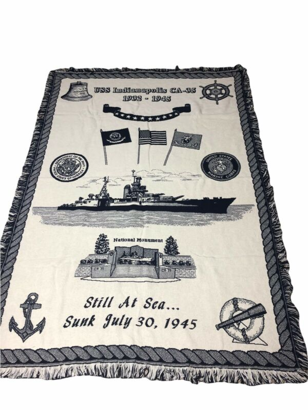 USS Indianapolis Tapestry Throw Blanket Submarine  Flag Navy