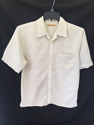 The Havanera Shirt Co Mens Small Embroidered Bongo Drums Pocket Tan White Button
