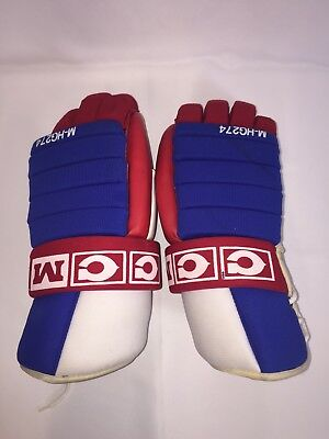 87fdda977cf Vintage CCM PRO GARD Hockey Gloves Red White Blue PREOWNED USED
