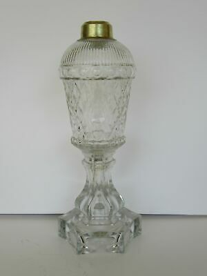 Antique 19th Century Sandwich Cut Glass Whale Oil Kerosene Lamp