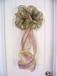 Mardi Gras Deco Mesh Party Bow Door Wreath Garland Coachlight Mailbox Decoration