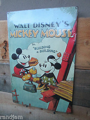Walt Disney MICKEY MOUSE Embossed Metal Sign Display Vintage Cool Look Quality