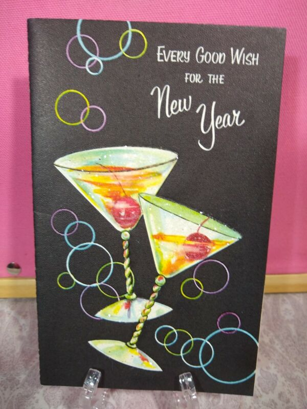 VTG Unused Happy New Year Greetings glitter embossed Party Martini Bubbles Drink