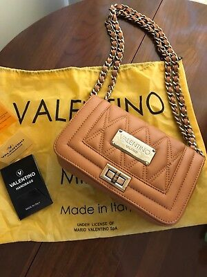 MARIO VALENTINO ALICE QUILTED LEATHER CAMEL CROSSBODY CHAIN STRAP SHOULDER WOW!!