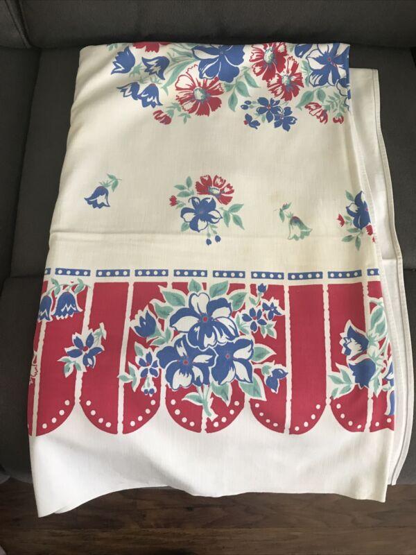 "Vintage Tablecloth Red Blue Floral 50"" x 62"""