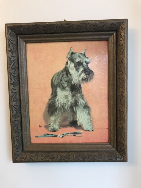 Vintage Schnauzer With Crayons Picture Framed 10.5 x 12.5 SO CUTE!