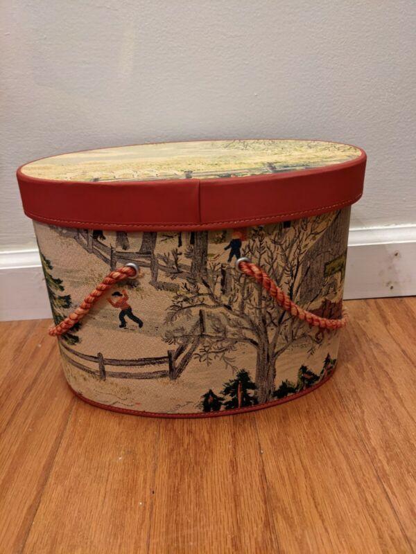 Vintage Kerk Guild Inc. Sewing Box Grandma Moses Fabric Amazing Condition